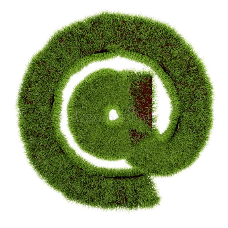 Begreppet e-postsymbol täckt gräs på vit bakgrund - 3D-bild vektor illustrationer