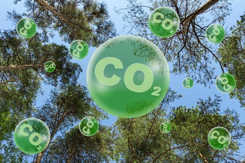 Begreppet ekologi Minskade koldioxidutsläpp arkivbilder