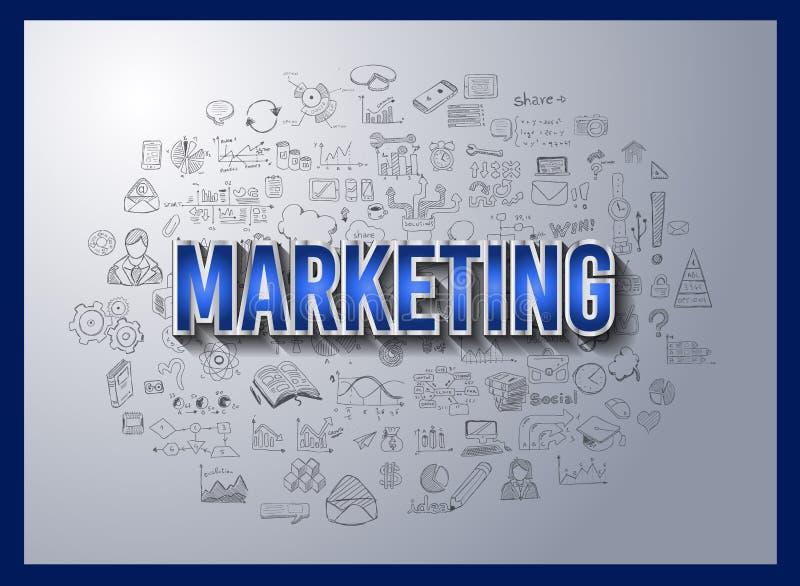 Begreppet för affärsframgång och för marknadsföringsstrategi med klotterdesign utformar royaltyfri illustrationer