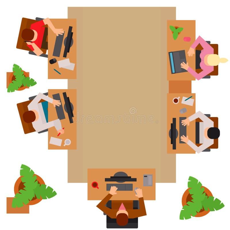 Begreppet för arbetsplatskontorsprocessen och sikten för modern digital man för rengöringsdukstil den bästa sänker vektorillustra vektor illustrationer