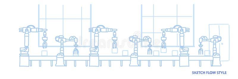 Begreppet för bransch för industriell automation för maskineri för monteringsbandet för fabriksproduktiontransportören skissar de royaltyfri illustrationer