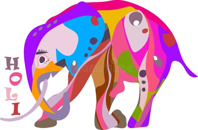 Begreppet för den lyckliga Holi ferien av en dekorerad elefant knäfaller stock illustrationer