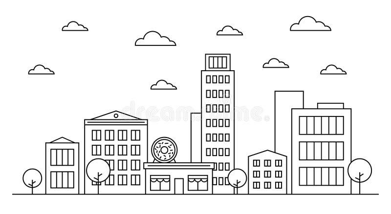 Begreppet för designen för horisont för översiktscityscapelandskapet med byggnader, scyscrapers, träd, moln, munk shoppar kafét royaltyfri illustrationer