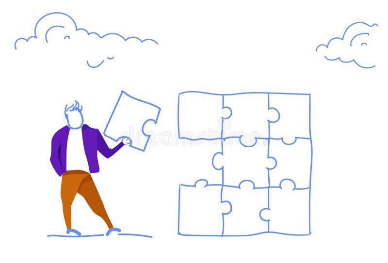 Begreppet för fullföljande för projektet för lösningen för problemet för delen för figursågen för affärsmaninnehavpusslet skissar stock illustrationer