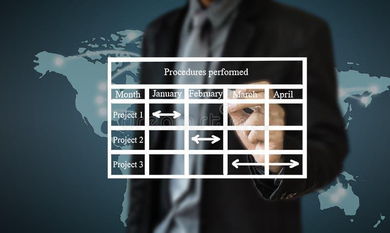 Begreppet för handstil för affärsmannen av affärsprocessen förbättrar royaltyfria foton