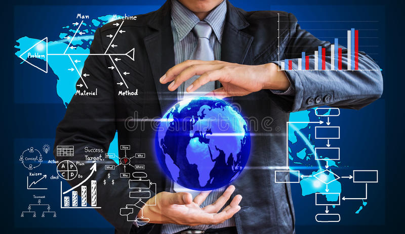 Begreppet för handstil för affärsmannen av affärsprocessen förbättrar arkivbild