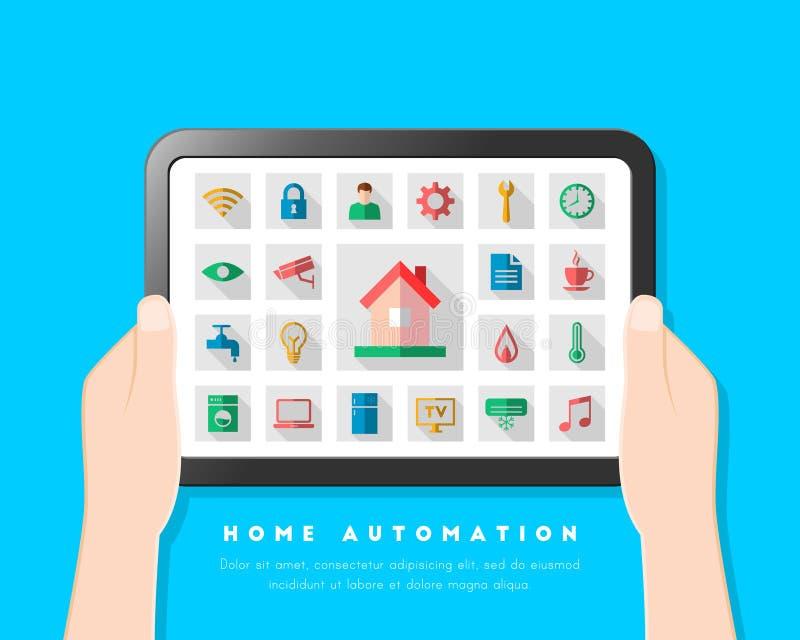 Begreppet för hem- automation med användargränssnittet och symbolen ställde in stock illustrationer