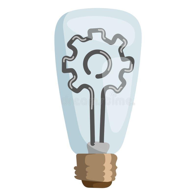 Begreppet för illustrationen för kugghjullampvektorn isolerade lösningen för symbolet för elektricitet för resursen för ljus för  stock illustrationer