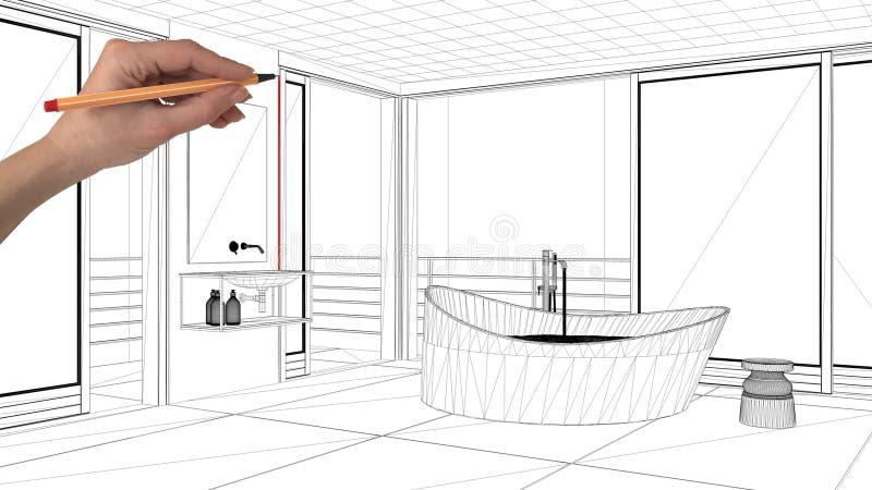 Begreppet för inredesignprojektet, beställnings- arkitektur för handteckning, svartvitt färgpulver skissar, gör en skiss av uppvi arkivbild