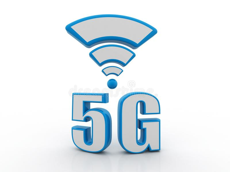 begreppet för internet 5g, minnestavla med 5g undertecknar in vit bakgrund stock illustrationer