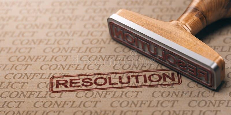 Begreppet för konfliktupplösning, gummistämpeln och ordet skrivev ut royaltyfri illustrationer