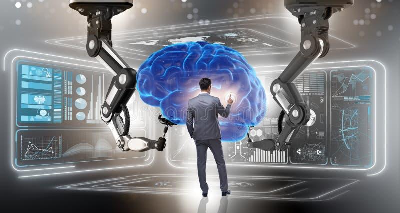 Begreppet för konstgjord intelligens med affärsmannen stock illustrationer