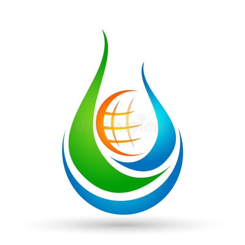 Begreppet för logoen för vattendroppjordklotet av vattendroppe med naturen för symbolen för symbolet för wellnessen för världsräd royaltyfri illustrationer