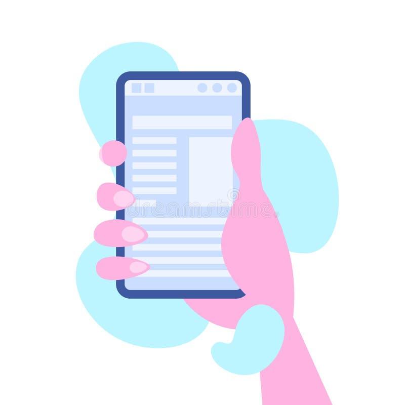 Begreppet för profilen för massmedia för den mänskliga för handen hållande för smartphonen mobila skärmen för online-applikatione vektor illustrationer