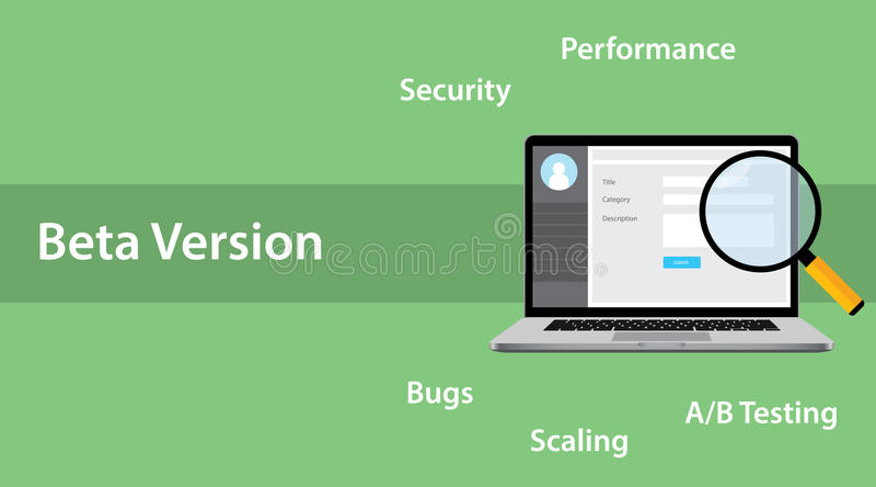Begreppet för programvara för betaversionen med bärbar dator- och förstoringsglasfel buggar royaltyfri illustrationer