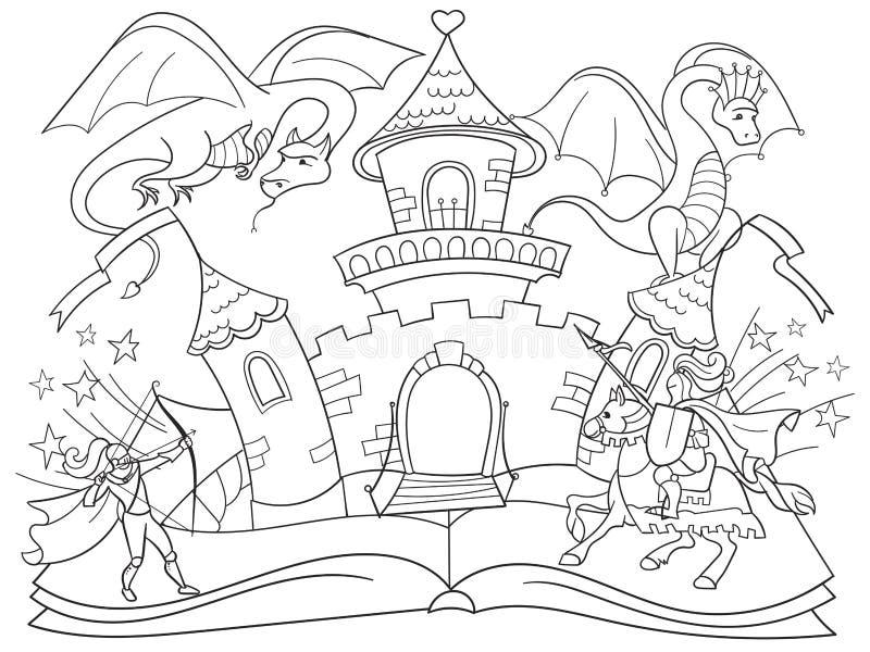 Begreppet för sagan för boken för färgläggningfen lurar det öppna illustrationen med den onda draken, den modiga krigaren och den stock illustrationer