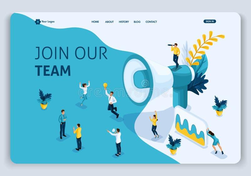 Begreppet för sidan för Websitemalllandning kan det isometriska att sammanfoga vårt lag, använda för, uien, uxrengöringsduken, de royaltyfri illustrationer