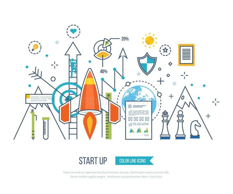 Begreppet för startar upp affär och finansierar strategi Investeringtillväxt stock illustrationer