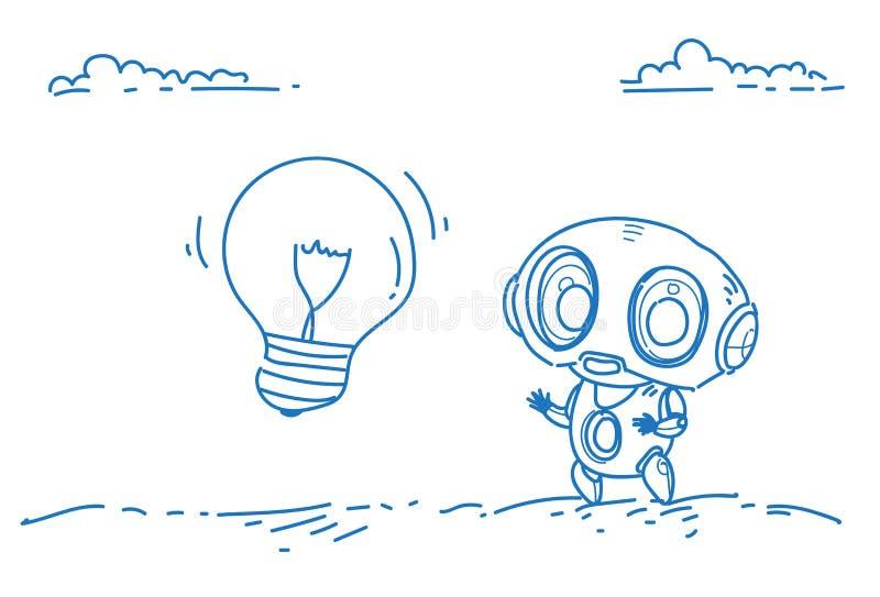 Begreppet för teknologi för konstgjord intelligens för idén för modern för robotinspiration innovation för den ljusa kulan skissa vektor illustrationer