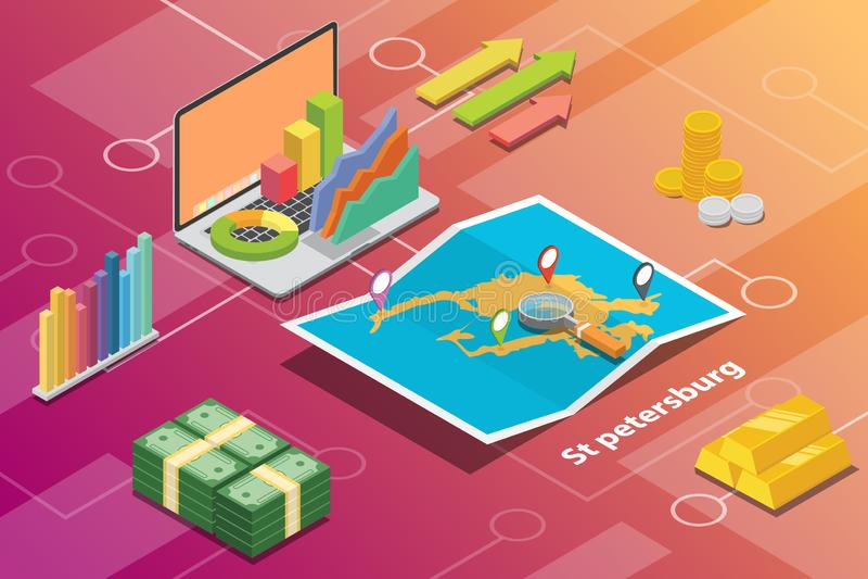 Begreppet för villkoret för ekonomi för staden för St St Petersburg beskriver det isometriska finansiella för stadstillväxt för a vektor illustrationer