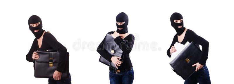 Begreppet f?r industriellt spionage med personen i balaclava arkivfoton