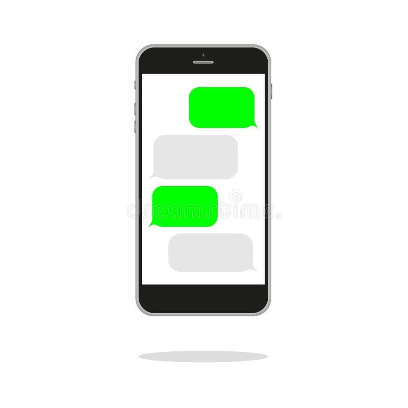 begreppet frambragte digitalt högt samkväm för bildnätverksres blank mall Prata och messaging SMS meddelandeöverföring Modernt pr vektor illustrationer