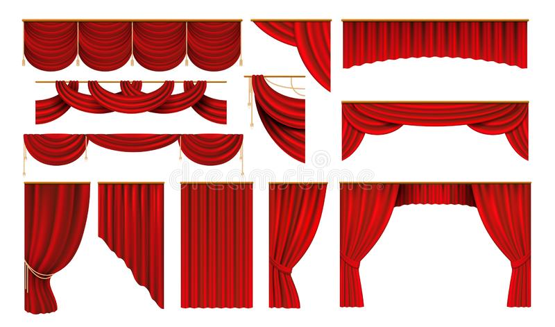 begreppet h?nger upp gardiner realistisk r?d show f?r underh?llning Bio- och teateretappgränser, elegant gardin för bakgrund 3D V stock illustrationer