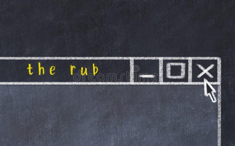 Begreppet hantering av problem Ändra ritning av stängningsprogramfönstret med en bildtext för rub arkivbild
