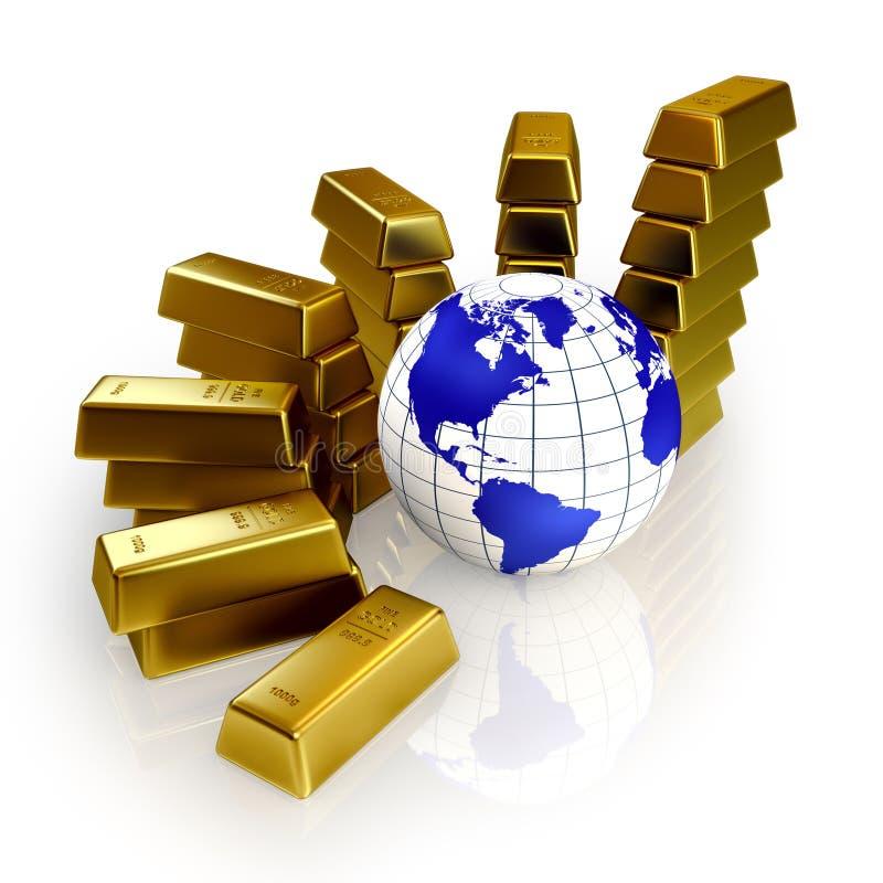 begreppet kontrollerar guldvärlden vektor illustrationer