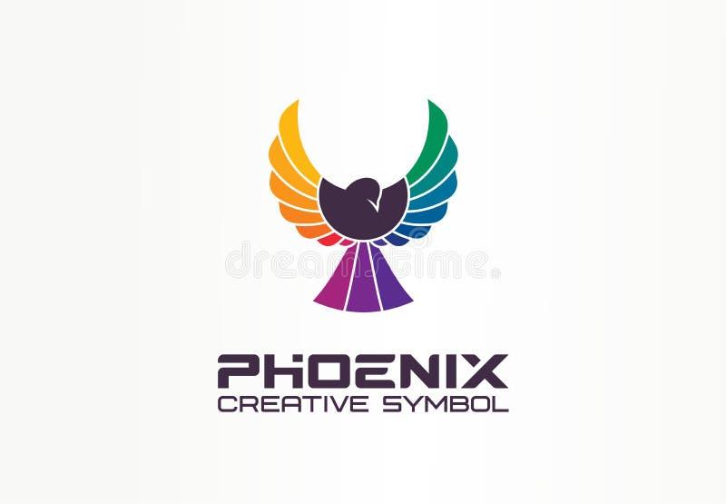 Begreppet kreativ färgfotoenix Frihet, sprit örn, spektrumabstrakt affärslogotyp Fågel under flygning vektor illustrationer