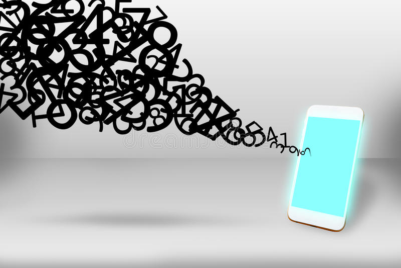 Begreppet, mobiltelefonen och mer för anslutning för datanätverkande numrerar stock illustrationer