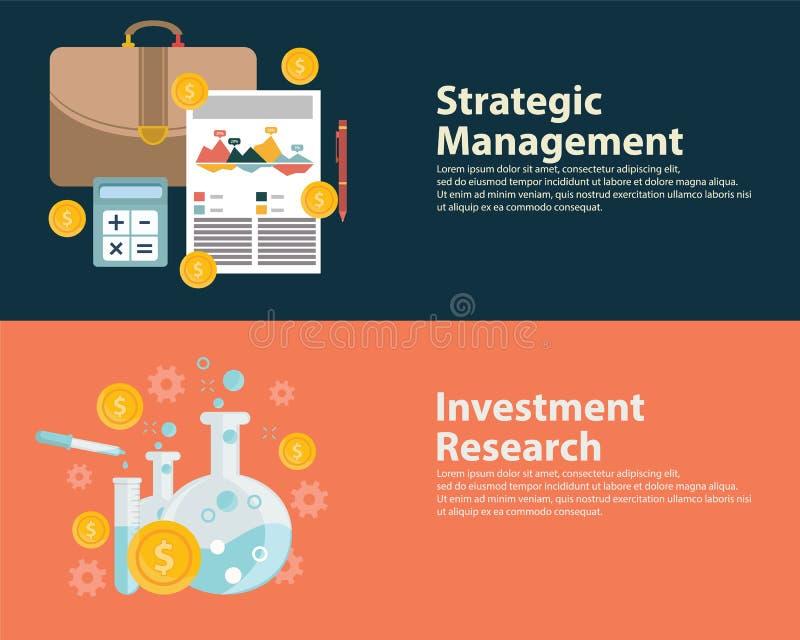 Begreppet och investeringen för plant för stilaffärsframgång mål för strategi forskar det infographic Uppsättning för rengöringsd stock illustrationer
