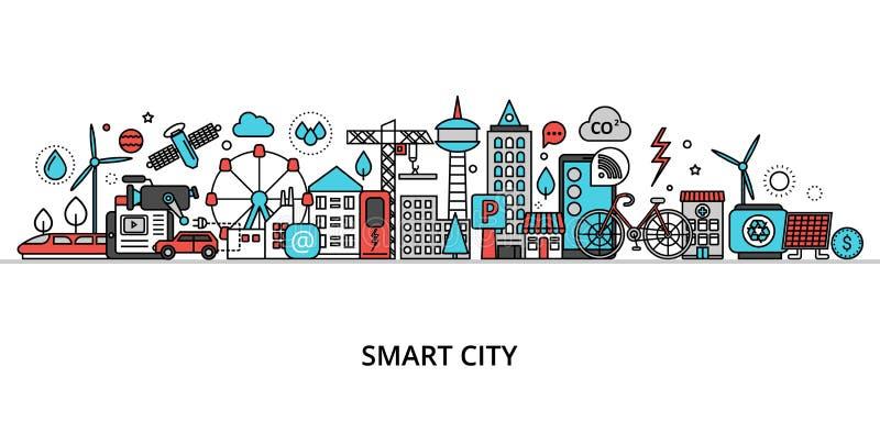 Begreppet smarta städer, teknik för framtida och urbana innovationer vektor illustrationer