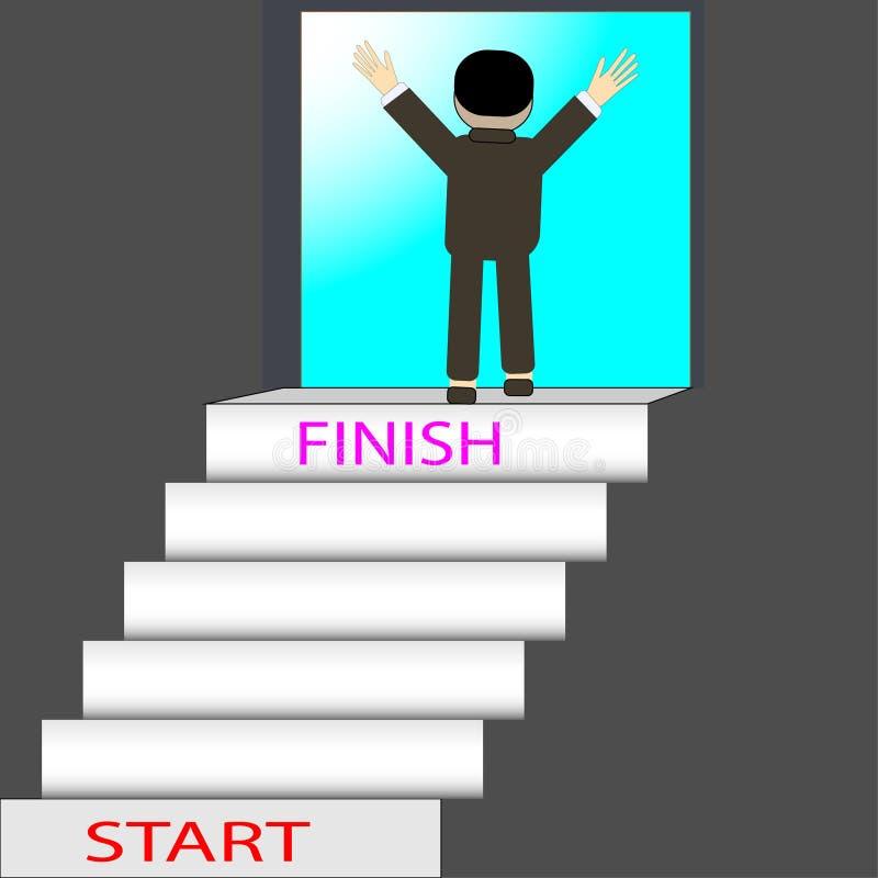 Begreppet som uppnår målet, måste ha hinder Jämfört kliva upp trappa - vektorbegreppsförsök för framgång royaltyfri illustrationer