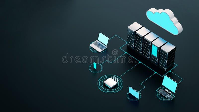 Begreppet trådlöst nätverk för Internet-moln och datorer stock illustrationer