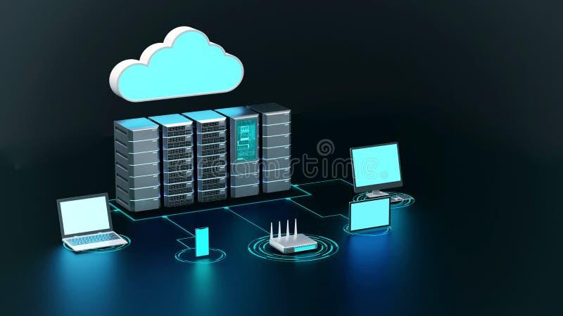 Begreppet trådlöst nätverk för Internet-moln och datorer vektor illustrationer