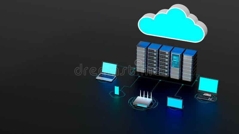 Begreppet trådlöst nätverk för Internet-moln och datorer royaltyfri illustrationer