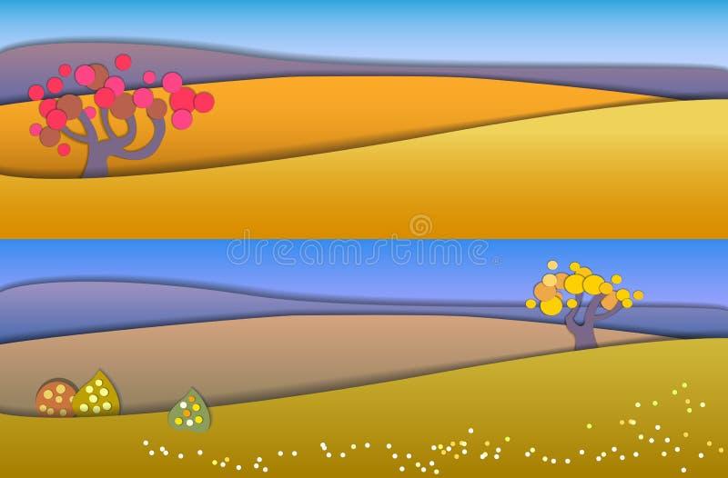 Begreppsändring av säsonger Jordklotbegrepp som visar ett fridsamt och ett I royaltyfri illustrationer