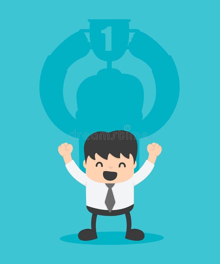 Begreppsaffärsskugga av framgång lyckad affärsman royaltyfri illustrationer