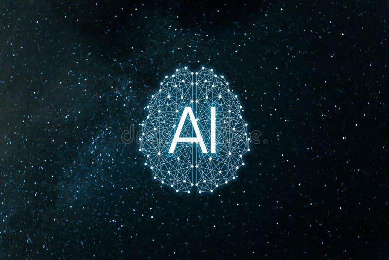 BegreppsAIArtificial intelligens Nerv- n?tverk, maskin och djupt l?ra vektor illustrationer