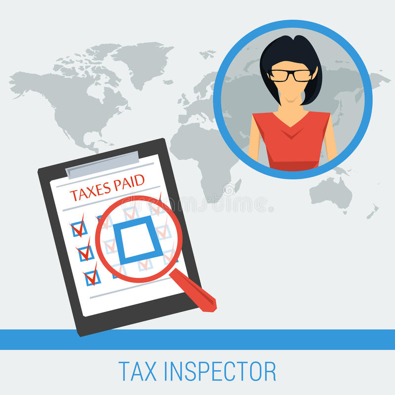 Begreppsarbete av taxeringsinspektören vektor illustrationer