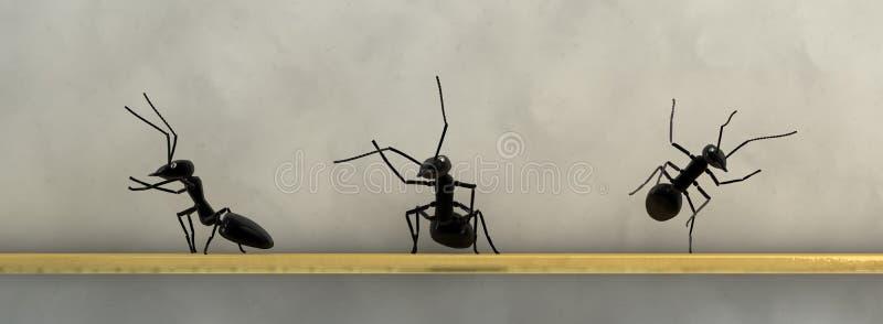begreppsarbete, lag av myror stock illustrationer