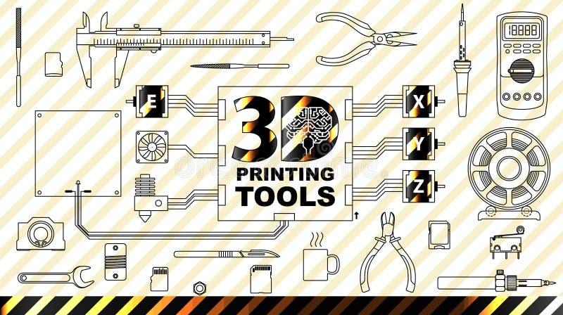 begreppsbakgrund för printing 3d stock illustrationer