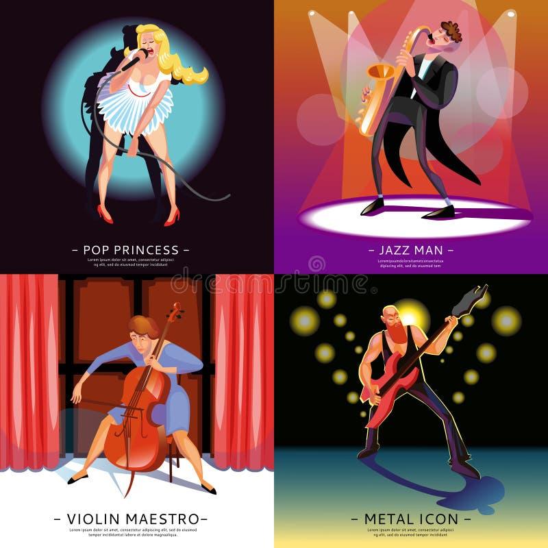 Begreppsbaner för musik 2x2 stock illustrationer