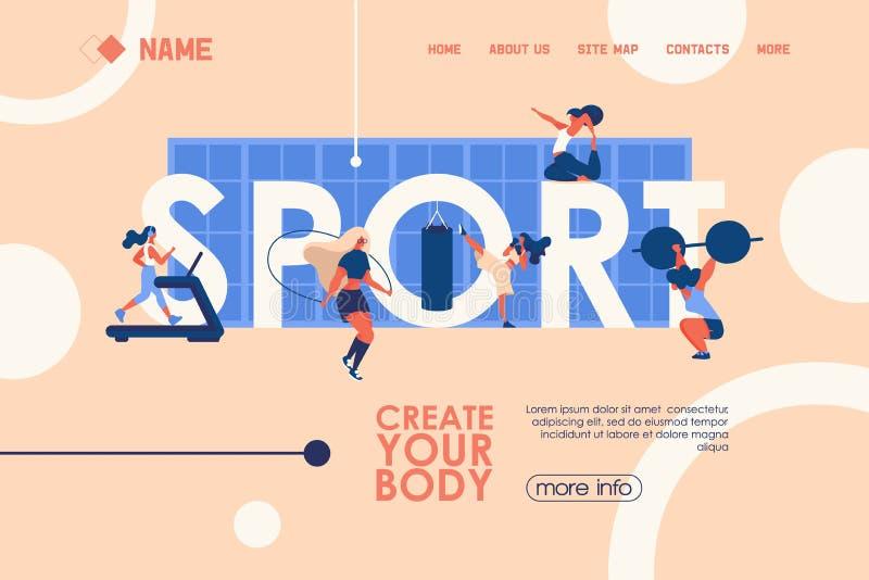 Begreppsbaner för sund livsstil, idrottshallkurser och grupper med den stora ordsporten och utbildning för ung kvinna Vektorlandn stock illustrationer