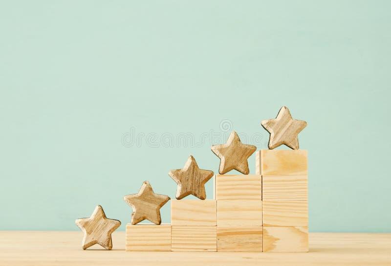 Begreppsbild av inställning av ett mål för fem stjärna öka den värderings- eller rang-, utvärderings- och klassifikationsidén royaltyfri fotografi
