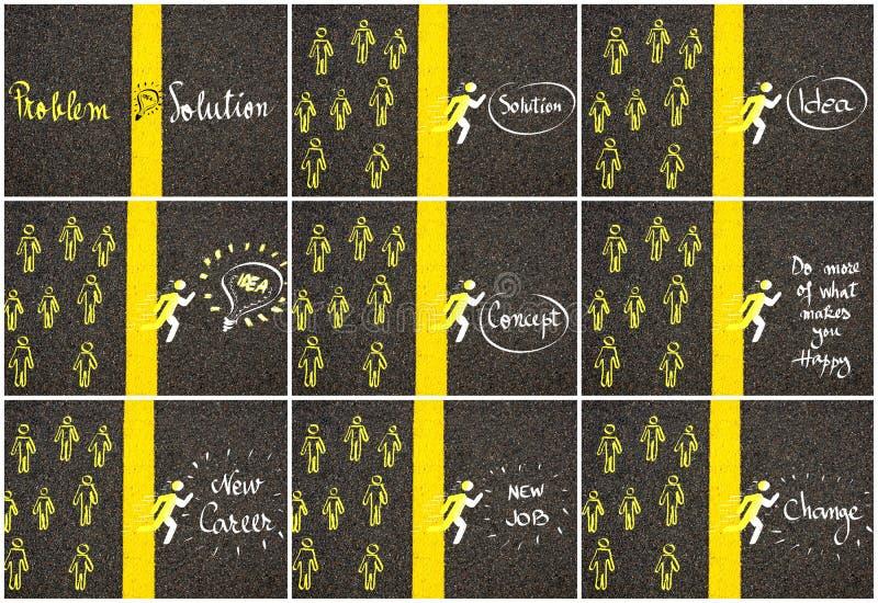 Begreppsbilder över guling för vägmarkering målar den delande linjen vektor illustrationer