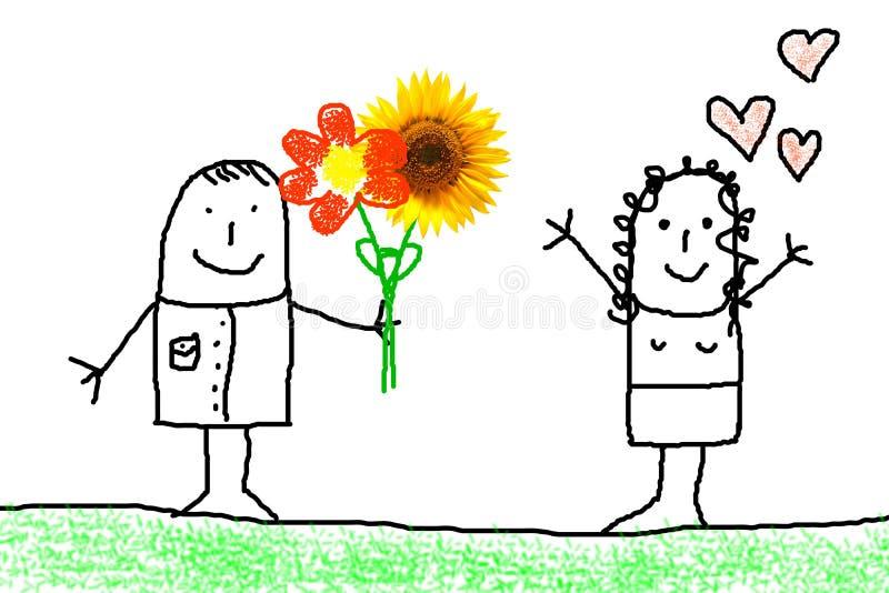 begreppsblommaförälskelse royaltyfri illustrationer