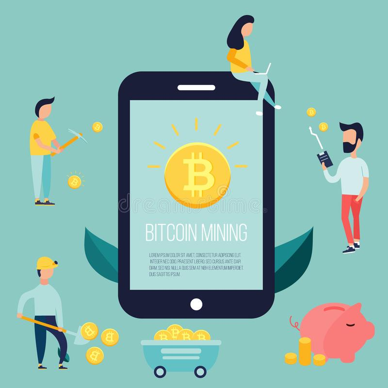 Begreppsdesign med folk som tjänar bitcoins royaltyfri illustrationer