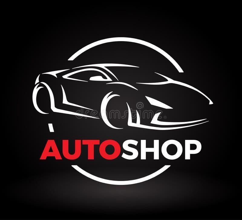 Begreppsdesignen av toppen en auto sportmedelbil shoppar logo royaltyfri illustrationer